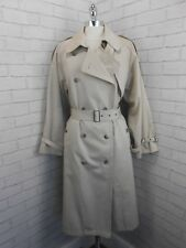 Vintage 80s Ladies Long Beige Double Breasted Trench Coat Mac With Wool Liner 18