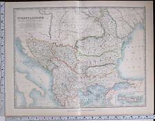 1904 LARGE MAP TURKEY IN EUROPE SERVIA BULGARIA RUMELIA BOSNIA MONTENEGRO