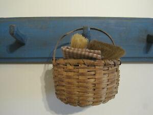 Old Primitive Small Oak Splint Signed Basket with a Handle American Find AAFA
