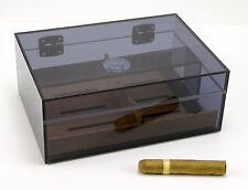 Humidor Acrylglas dunkel getönt ca 40 Zigarren Hygrometer & Polymerebefeuchter