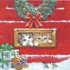 Lot de 2 Serviettes en papier Chat Boite aux lettres Noël Decoupage Collage