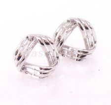 Women Lady New 925 Solid Silver White Gold Finished Pyramid 10mm Stud Earrings