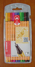 Pack of 10 Stabilo Point 88 Fineliner Pens Assorted Colours Coloured Fine 0.4mm
