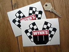 "Wynns Bandera cruzada adhesivos para coches 4 ""par Racing Classic Dragster Indy Nascar F1"
