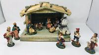 Vtg. Wood Creche Nativity Reuge Music Box Handmade Italy 11 Chalk Ware Figures