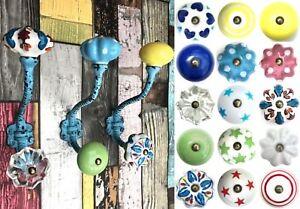 Blue Vintage iron hooks coat hooks with ceramic knobs