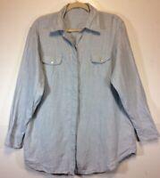 Express Men's Irish Linen Shirt M Long Sleeve Pale Blue