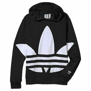 adidas Originals Big Trefoil Hoodie Kinder Kapuzenpullover Jungen Schwarz Weiß