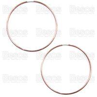 LARGE rose gold tone  70mm SEAMLESS HOOPS polish hoop fashion earrings UK GIFT