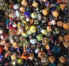 75 Beads Lampwork Handcrafted Bumpy Art Bead Lot, Wholesale Dot Glass Beads