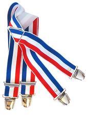 Bretelle élastiquée bleu blanc rouge 4 bandes. 4 pinces métallique