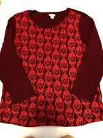 J CREW 100% COTTON 3/4 SLEEVE TOP WOMAN'S SIZE XL BEAUTIFUL BURGUNDY AND RED