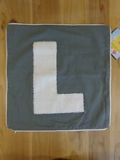 "Pillowfort Varsity Monogram Throw Pillow Cover GRAY LETTER L 16"" Square"
