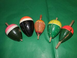 5 Vintage Cork Bodied Pike Fishing Floats Bungs