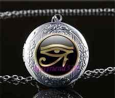 Gold Eye Of Ra Photo Cabochon Glass Tibet Silver Locket Pendant Necklace
