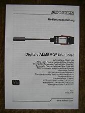 AHLBORN Bedienungsanleitung für Digitale D6-Fühler NEU und OVP