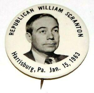 1963 BILL SCRANTON GOVERNOR Pennsylvania campaign pin pinback button political