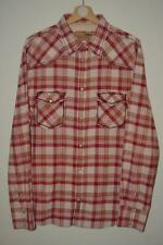 RETRO RED & CREAM CHECK GUESS VINTAGE POPPER BUTTON WESTERN L/S SHIRT UK XL