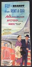 Fly Braniff International then rent a car Avis National or Hertz late 1950's