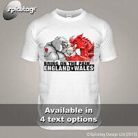 England V Wales White Rugby Championship T-shirt Bulldog Dragon Try Tshirt Sport