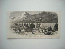 GRAVURE 1858. CHEMIN DE FER DE LYON A GENEVE. VIADUC DE BELLEGARDE.