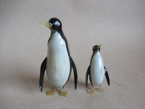 kleiner und grosser Pinguin Glasfigur Lampenglas Lauscha Bimini ? (bestossen)