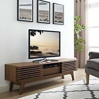 "Mid-Century Modern Walnut Wood Low Profile 59"" TV Stand Media Center Console"