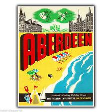ABERDEEN SCOTLAND Vintage Travel Advert METAL WALL SIGN PLAQUE poster print
