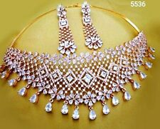 Extraordinary Jewel Gold Plated AD Collar Choker Necklace Earrings With crystals