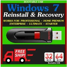 Windows 7 32/64 bit Reinstall Recovery Repair All Versions SP1 (USB Drive)