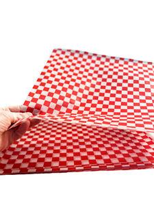 100 Sheets- Food Basket Liner Deli Paper Sandwich Wrap Paper 12 x12 (Red Check)
