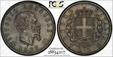 ITALY KINGDOM  1863-T-BN  2 LIRE SILVER COIN, SCARCE DATE, CERTIFIED PCGS XF45