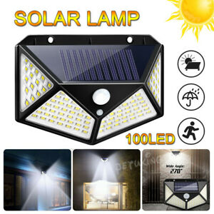 100 LED Solar Lights PIR Motion Sensor Security Wall Light Garden Landscape Lamp