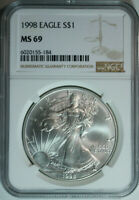 1998 Silver American Eagle Dollar / .999 Pure / NGC MS69 / Mint State 69