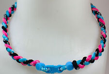 "NEW! 20"" Custom Clasp Braided Sports Light Blue Black Pink Tornado Necklace"
