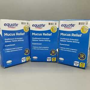 Equate Mucus Relief Guaifenesin Extended Release 600mg 40ct 3PK Exp 5/21+