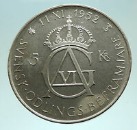 1952 SWEDEN King GUSTAV VI ADOLF 70th Birthday Silver 5Kr SWEDISH Coin i76028
