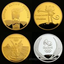 4 Pcs Rio 2016 Olympic Gold/Silver Medals/Torch/Mascot Commemorative Coins Set