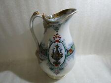 Beautiful Vintage  Large  Glazed Water Pitcher , Jug , Vase