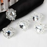 12x Silver Diamond Napkin Ring Serviette Holders Wedding Dinner Decor Banqu I4Y8