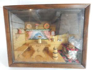 Vintage Swiss Primitive Kitchen Wood Diorama, Thorens Music Box, Lights up