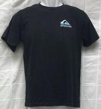 Quiksilver Boy's Black Quiksilver Crewneck T-Shirt w/ Blue Wave Logo Size L 14