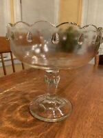 VINTAGE INDIANA GLASS COMPOTE SCALLOPED TEARDROP PEDESTAL FRUIT BOWL CANDY DISH
