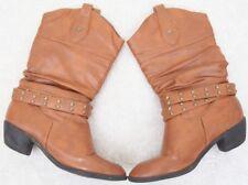 West Blvd Boots Brown 10 M Womens Women Dress Solid Calf High Shoes Ten Fashion