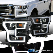 15-17 Ford F150 F-150 Pickup Black LED DRL Bar Projector Headlights Headlamps