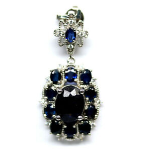 NATURAL 7 X 9mm. OVAL BLUE SAPPHIRE & WHITE CZ PENDANT 925 SILVER STERLING