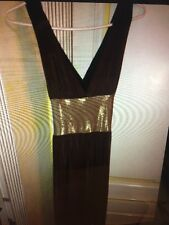 Girl's Brown/ Gold Stretchy PARTY DRESS SIZE Small