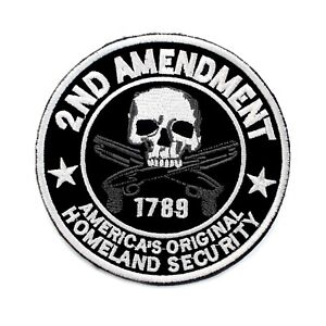 2nd AMENDMENT PATCH US CONSTITUTION GUN RIGHTS embroidered HOOK SECOND 2A
