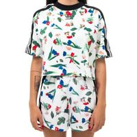 T-SHIRT DONNA ADIDAS CROPPED AOP TEE ED4742  FLOWER GIRLS TRIBES Bianco