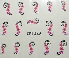 Nail art stickers décalcomanie bijoux d'ongles: fleurs roses arabesques
